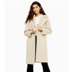 Top shop Stone Double Breasted Coat With Wool